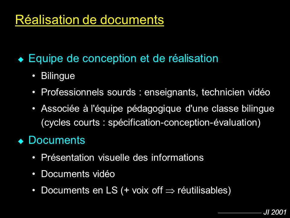 JI 2001 Réalisation de documents u Equipe de conception et de réalisation Bilingue Professionnels sourds : enseignants, technicien vidéo Associée à l'