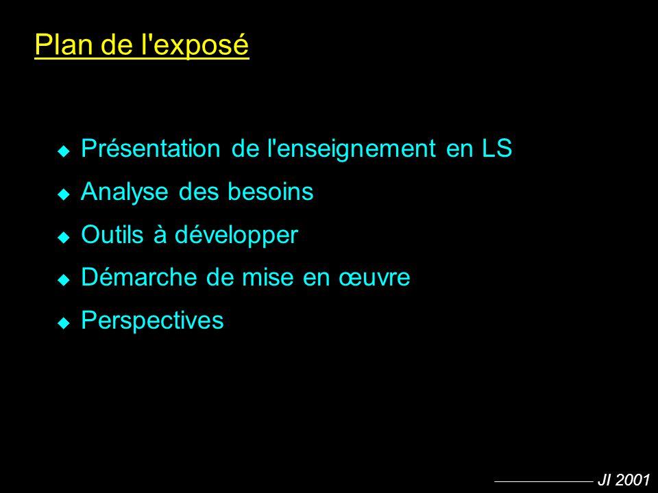 JI 2001 Plan de l'exposé u Présentation de l'enseignement en LS u Analyse des besoins u Outils à développer u Démarche de mise en œuvre u Perspectives