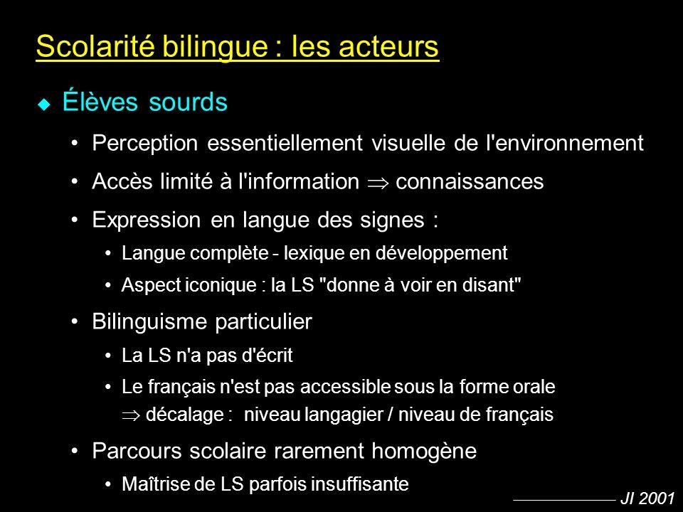 JI 2001 Scolarité bilingue : les acteurs u Élèves sourds Perception essentiellement visuelle de l'environnement Accès limité à l'information connaissa