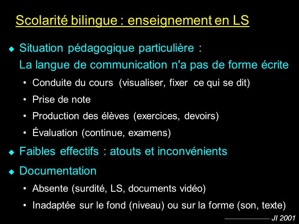 JI 2001 Scolarité bilingue : enseignement en LS u Situation pédagogique particulière : La langue de communication n'a pas de forme écrite Conduite du