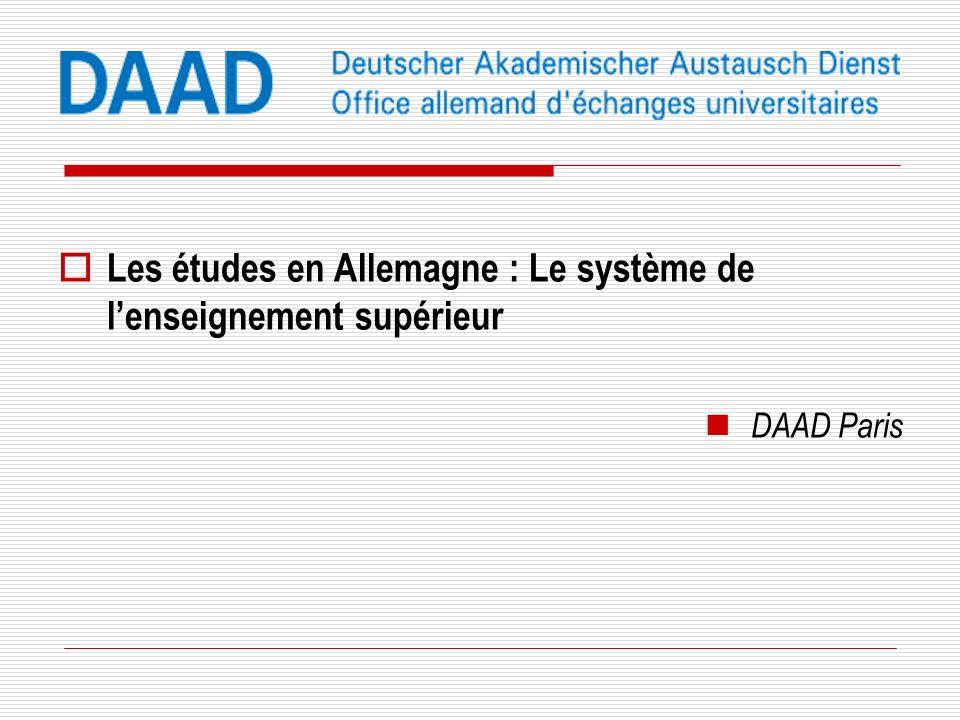 Les études en Allemagne : Le système de lenseignement supérieur DAAD Paris
