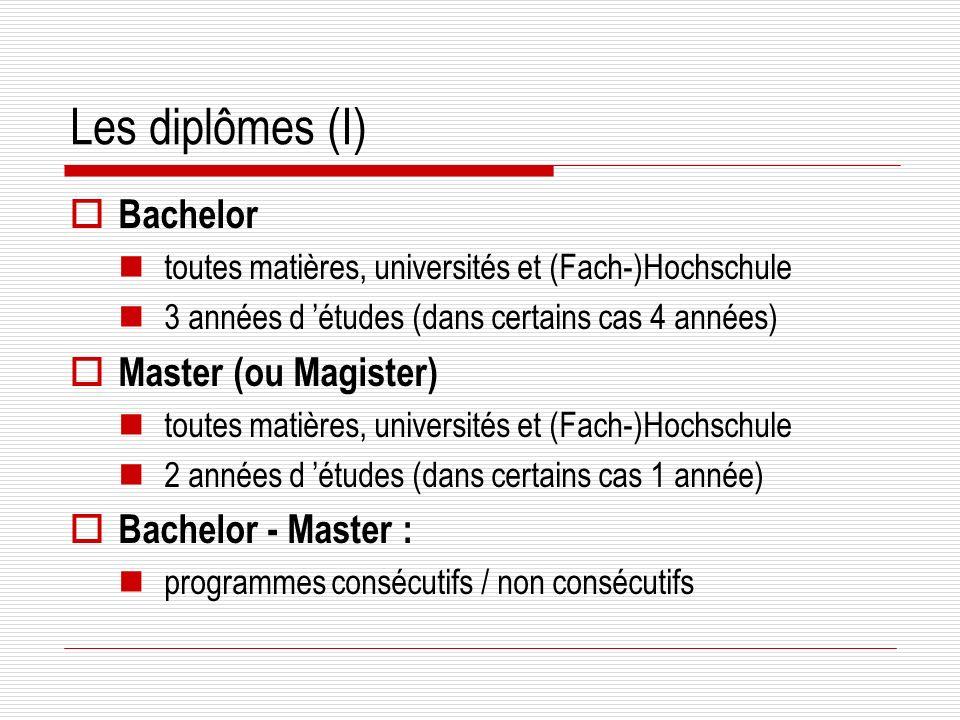 Les diplômes (I) Bachelor toutes matières, universités et (Fach-)Hochschule 3 années d études (dans certains cas 4 années) Master (ou Magister) toutes matières, universités et (Fach-)Hochschule 2 années d études (dans certains cas 1 année) Bachelor - Master : programmes consécutifs / non consécutifs