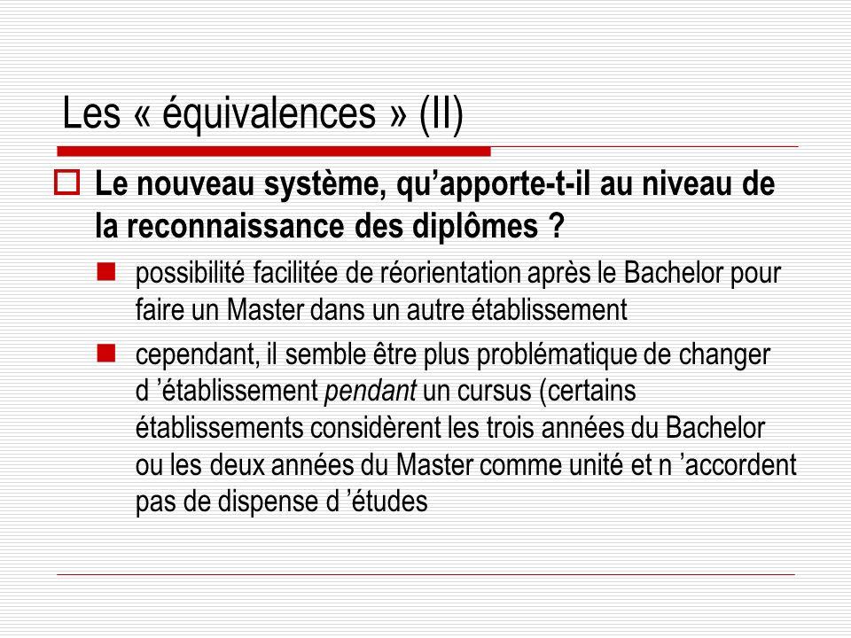 Les « équivalences » (II) Le nouveau système, quapporte-t-il au niveau de la reconnaissance des diplômes .