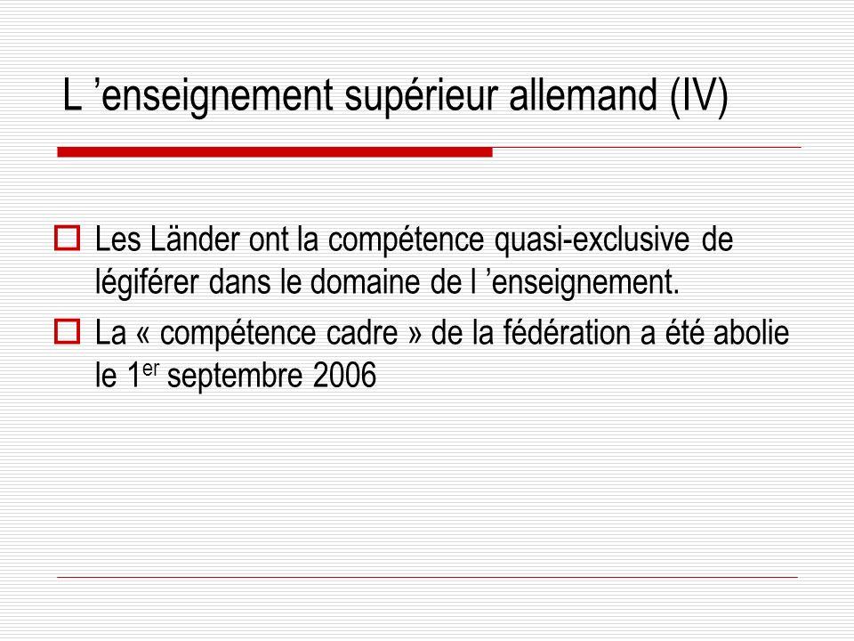 L enseignement supérieur allemand (IV) Les Länder ont la compétence quasi-exclusive de légiférer dans le domaine de l enseignement.