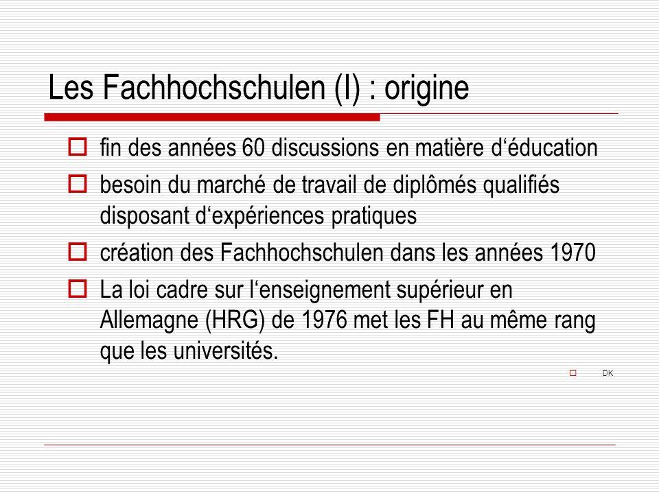 Les Fachhochschulen (I) : origine fin des années 60 discussions en matière déducation besoin du marché de travail de diplômés qualifiés disposant dexpériences pratiques création des Fachhochschulen dans les années 1970 La loi cadre sur lenseignement supérieur en Allemagne (HRG) de 1976 met les FH au même rang que les universités.