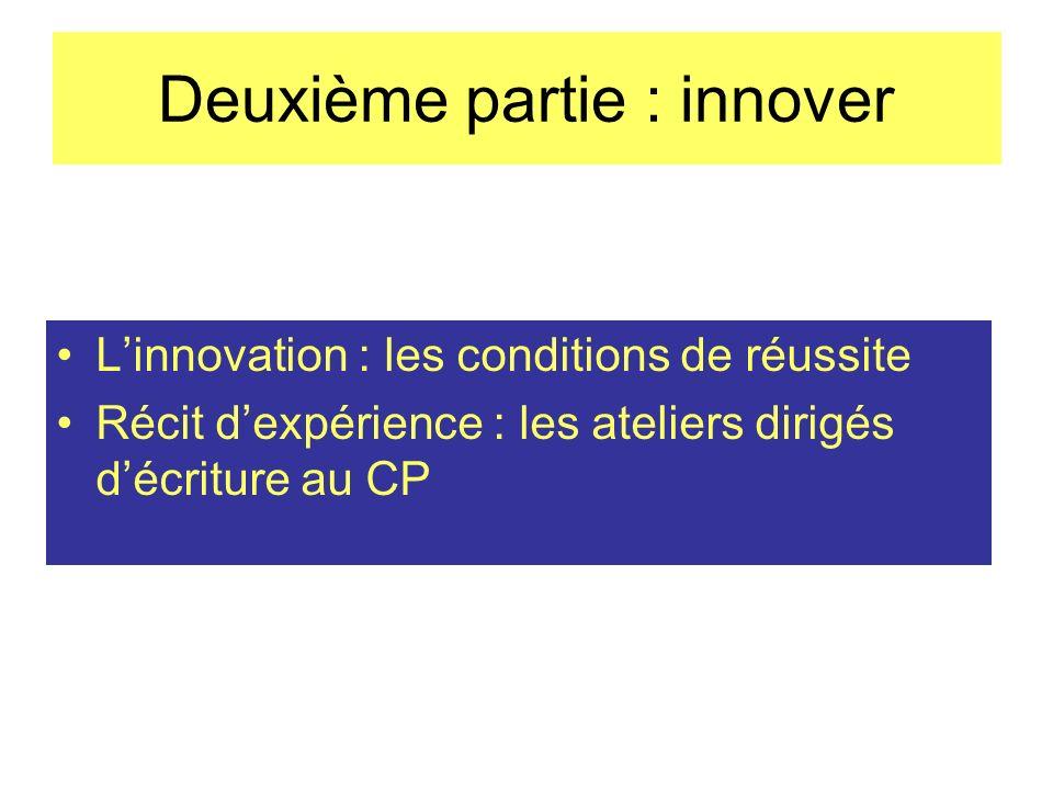 Deuxième partie : innover Linnovation : les conditions de réussite Récit dexpérience : les ateliers dirigés décriture au CP