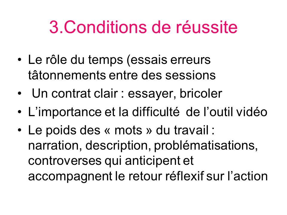 3.Conditions de réussite Le rôle du temps (essais erreurs tâtonnements entre des sessions Un contrat clair : essayer, bricoler Limportance et la diffi