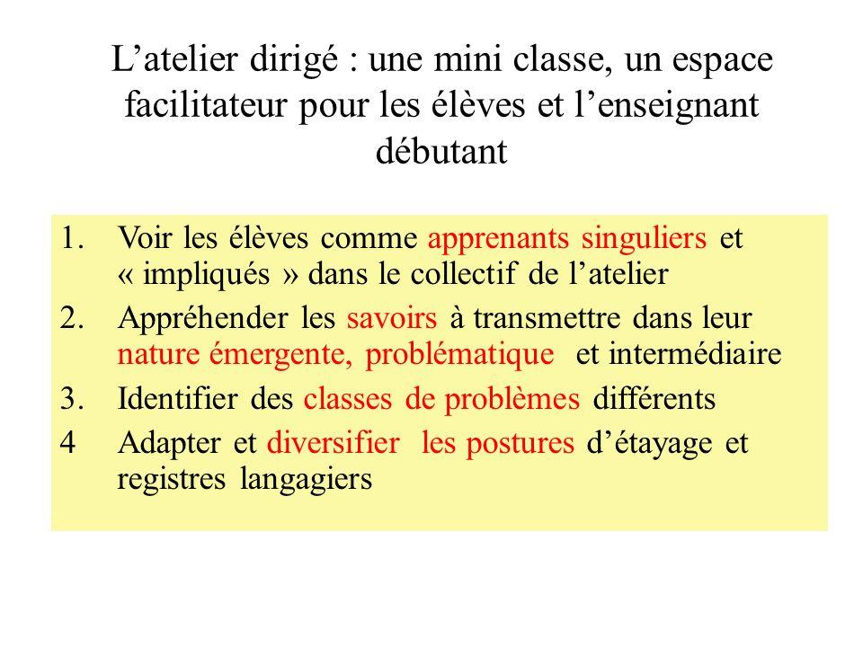 Latelier dirigé : une mini classe, un espace facilitateur pour les élèves et lenseignant débutant 1.Voir les élèves comme apprenants singuliers et « i