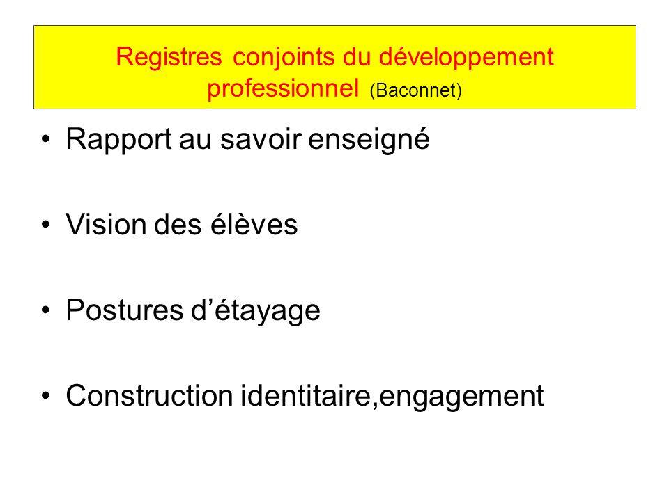 Registres conjoints du développement professionnel (Baconnet) Rapport au savoir enseigné Vision des élèves Postures détayage Construction identitaire,