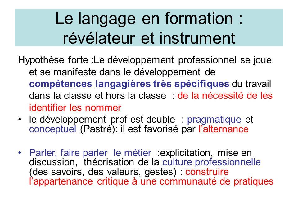 Le langage en formation : révélateur et instrument Hypothèse forte :Le développement professionnel se joue et se manifeste dans le développement de co
