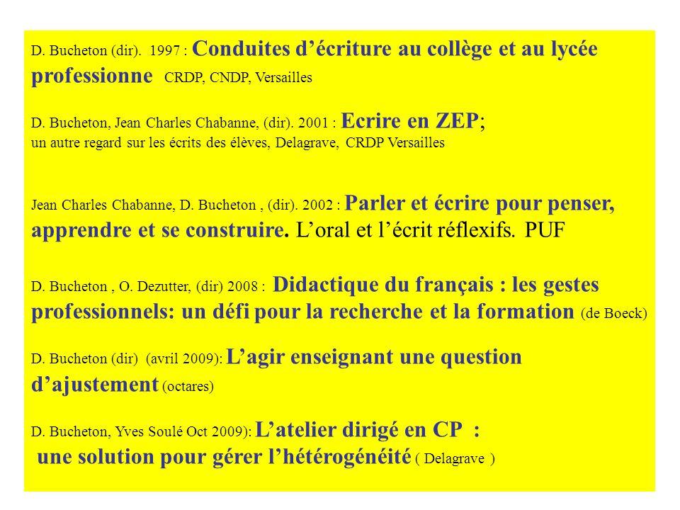 Bibliographie des ouvrages dirigés D. Bucheton (dir). 1997 : Conduites décriture au collège et au lycée professionne CRDP, CNDP, Versailles D. Bucheto