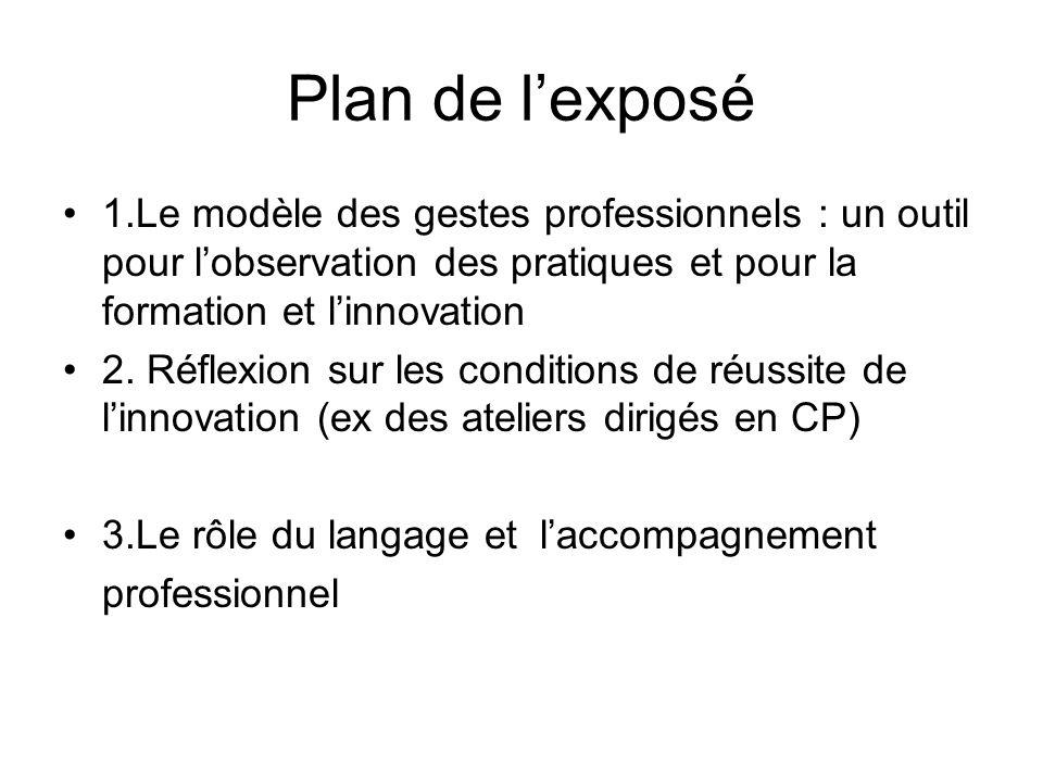 Plan de lexposé 1.Le modèle des gestes professionnels : un outil pour lobservation des pratiques et pour la formation et linnovation 2. Réflexion sur
