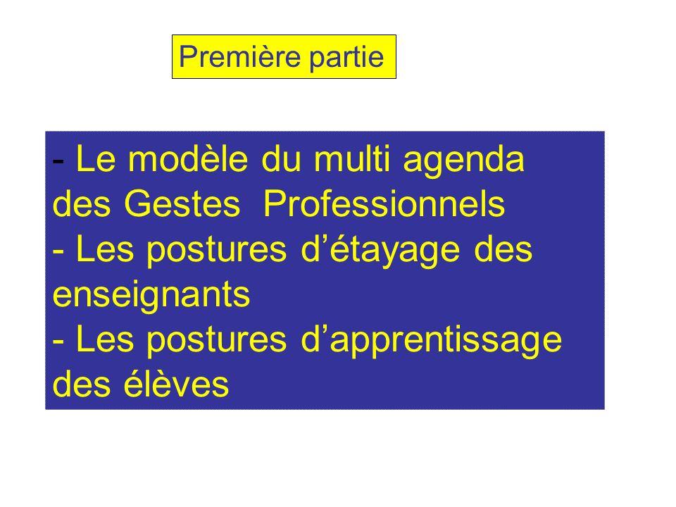 - Le modèle du multi agenda des Gestes Professionnels - Les postures détayage des enseignants - Les postures dapprentissage des élèves Première partie