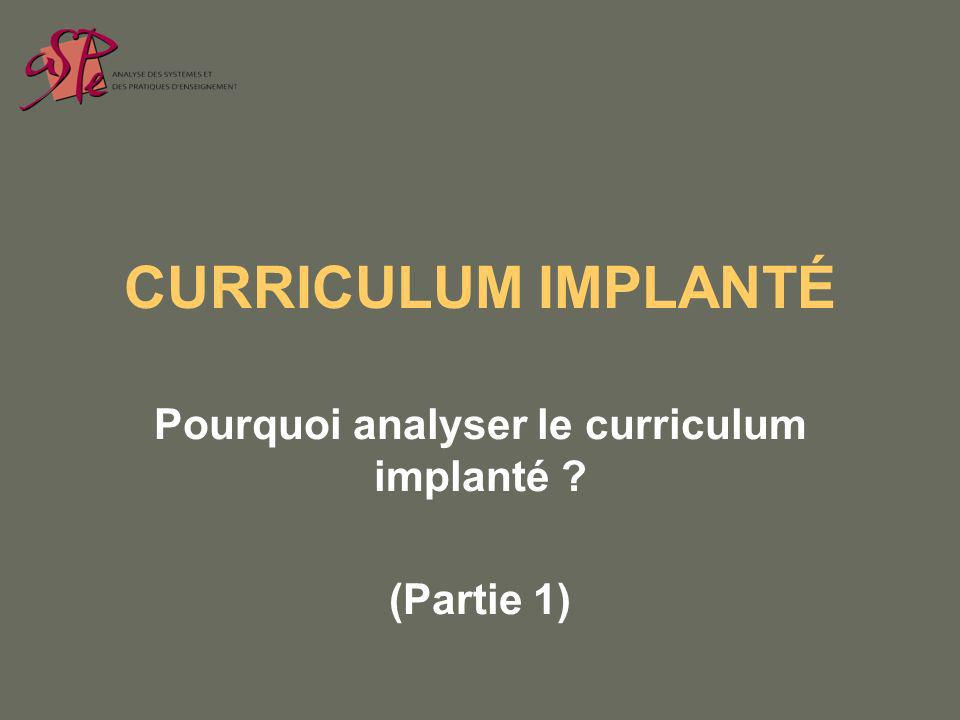 CURRICULUM IMPLANTÉ Pourquoi analyser le curriculum implanté (Partie 1)
