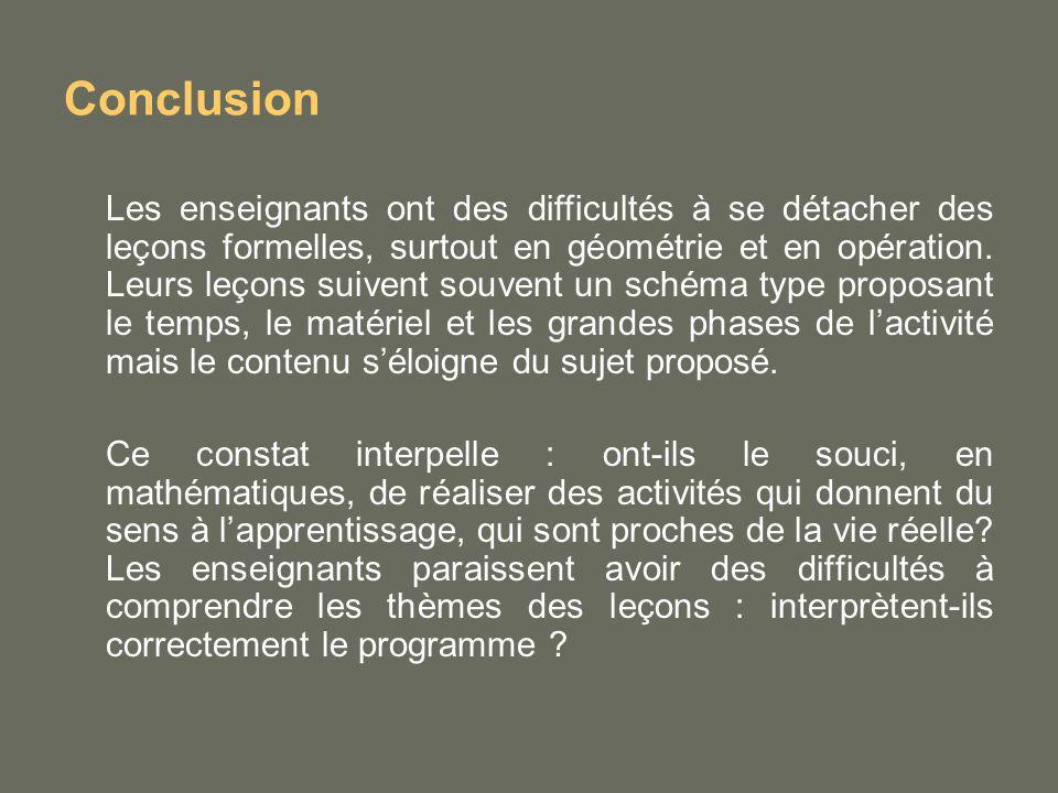 Conclusion Les enseignants ont des difficultés à se détacher des leçons formelles, surtout en géométrie et en opération. Leurs leçons suivent souvent