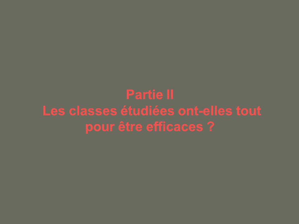 Partie II Les classes étudiées ont-elles tout pour être efficaces ?