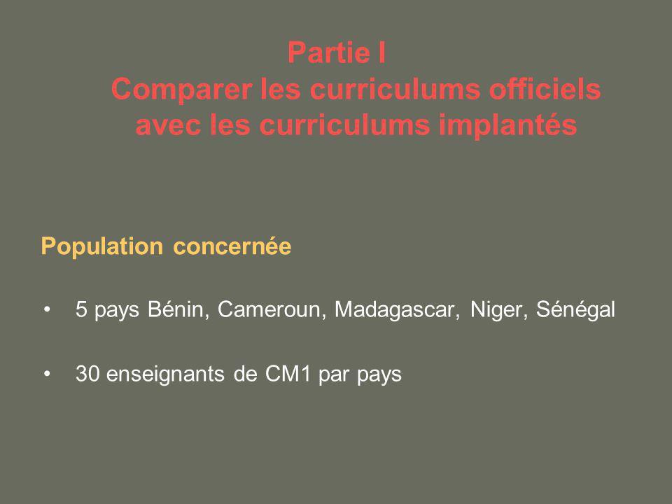 Partie I Comparer les curriculums officiels avec les curriculums implantés 5 pays Bénin, Cameroun, Madagascar, Niger, Sénégal 30 enseignants de CM1 pa