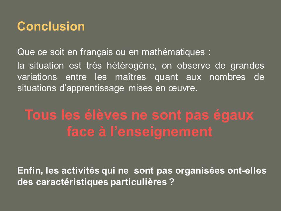 Conclusion Que ce soit en français ou en mathématiques : la situation est très hétérogène, on observe de grandes variations entre les maîtres quant au