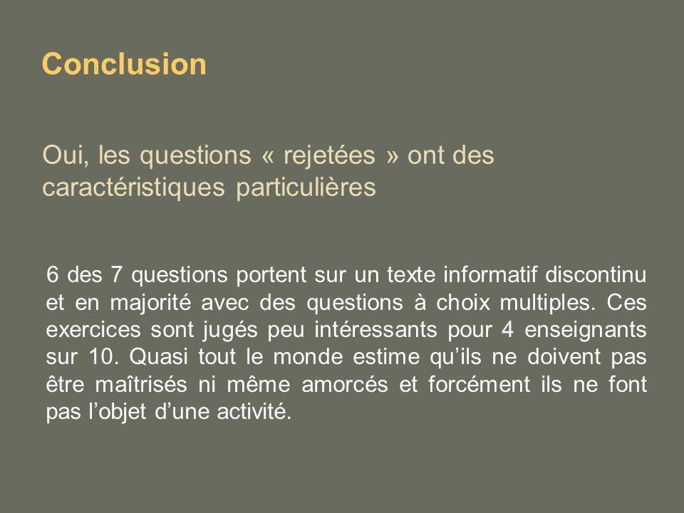 Oui, les questions « rejetées » ont des caractéristiques particulières 6 des 7 questions portent sur un texte informatif discontinu et en majorité ave