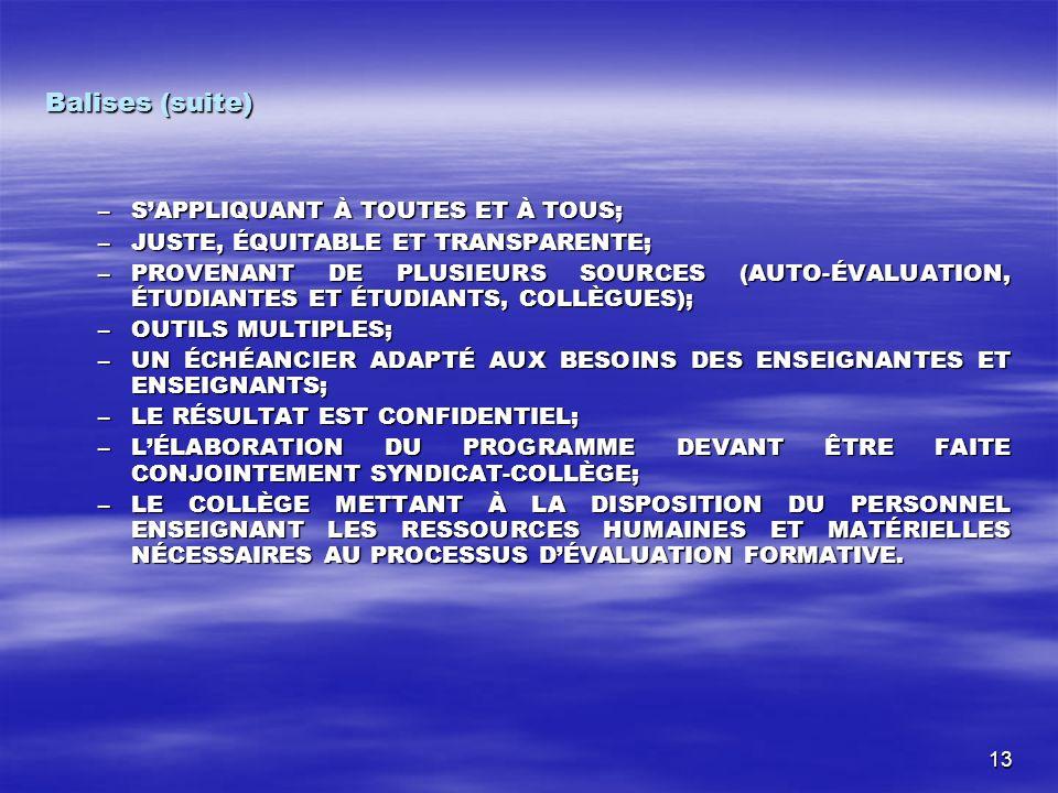 13 Balises (suite) –SAPPLIQUANT À TOUTES ET À TOUS; –JUSTE, ÉQUITABLE ET TRANSPARENTE; –PROVENANT DE PLUSIEURS SOURCES (AUTO-ÉVALUATION, ÉTUDIANTES ET ÉTUDIANTS, COLLÈGUES); –OUTILS MULTIPLES; –UN ÉCHÉANCIER ADAPTÉ AUX BESOINS DES ENSEIGNANTES ET ENSEIGNANTS; –LE RÉSULTAT EST CONFIDENTIEL; –LÉLABORATION DU PROGRAMME DEVANT ÊTRE FAITE CONJOINTEMENT SYNDICAT-COLLÈGE; –LE COLLÈGE METTANT À LA DISPOSITION DU PERSONNEL ENSEIGNANT LES RESSOURCES HUMAINES ET MATÉRIELLES NÉCESSAIRES AU PROCESSUS DÉVALUATION FORMATIVE.