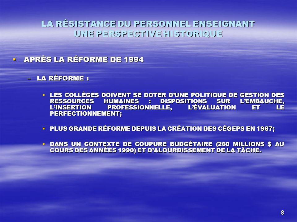 9 Après la réforme de 1994 (suite) –CONSEIL SUPÉRIEUR DE LÉDUCATION.