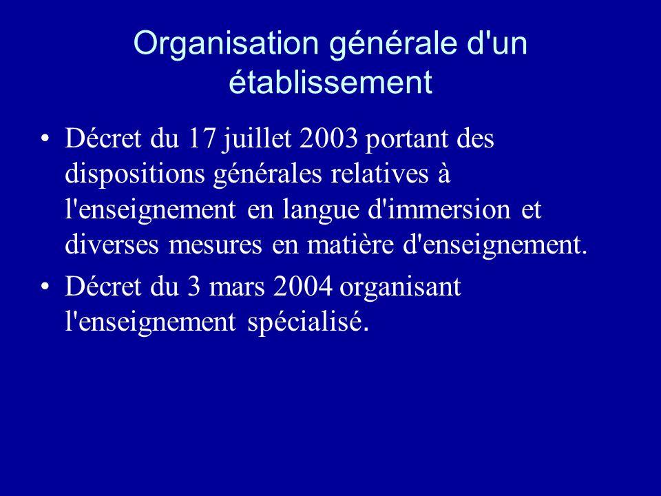 Organisation générale d'un établissement Décret du 17 juillet 2003 portant des dispositions générales relatives à l'enseignement en langue d'immersion