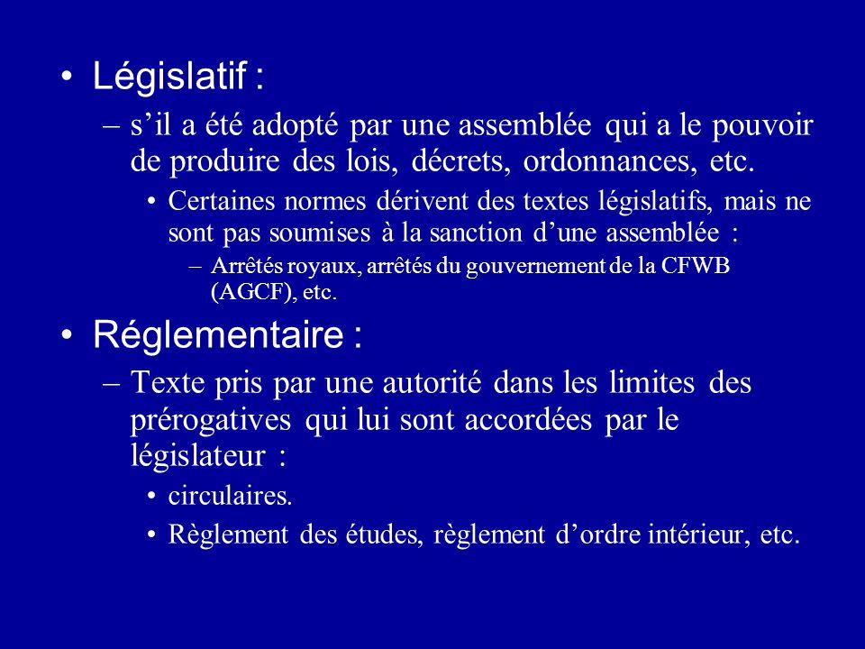 Législatif : –sil a été adopté par une assemblée qui a le pouvoir de produire des lois, décrets, ordonnances, etc. Certaines normes dérivent des texte