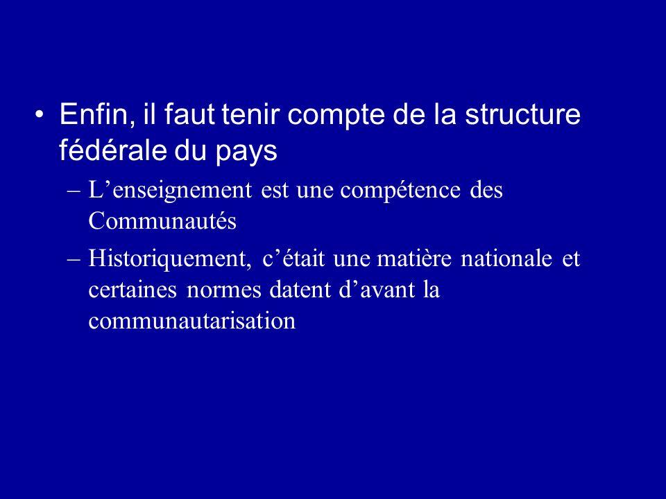 Enfin, il faut tenir compte de la structure fédérale du pays –Lenseignement est une compétence des Communautés –Historiquement, cétait une matière nat