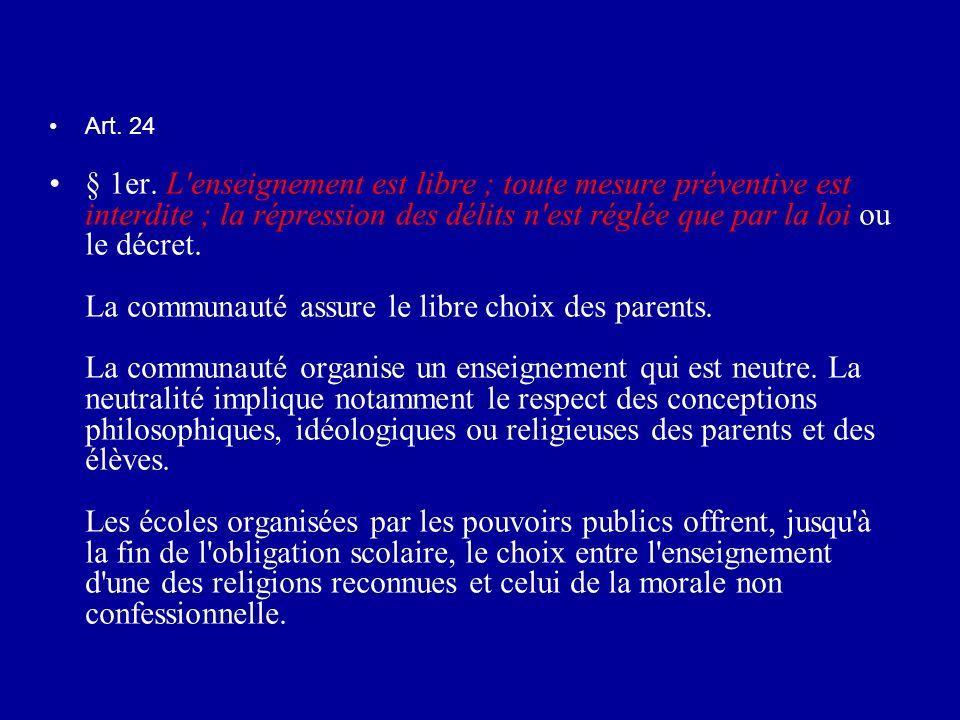 Art. 24 § 1er. L'enseignement est libre ; toute mesure préventive est interdite ; la répression des délits n'est réglée que par la loi ou le décret. L