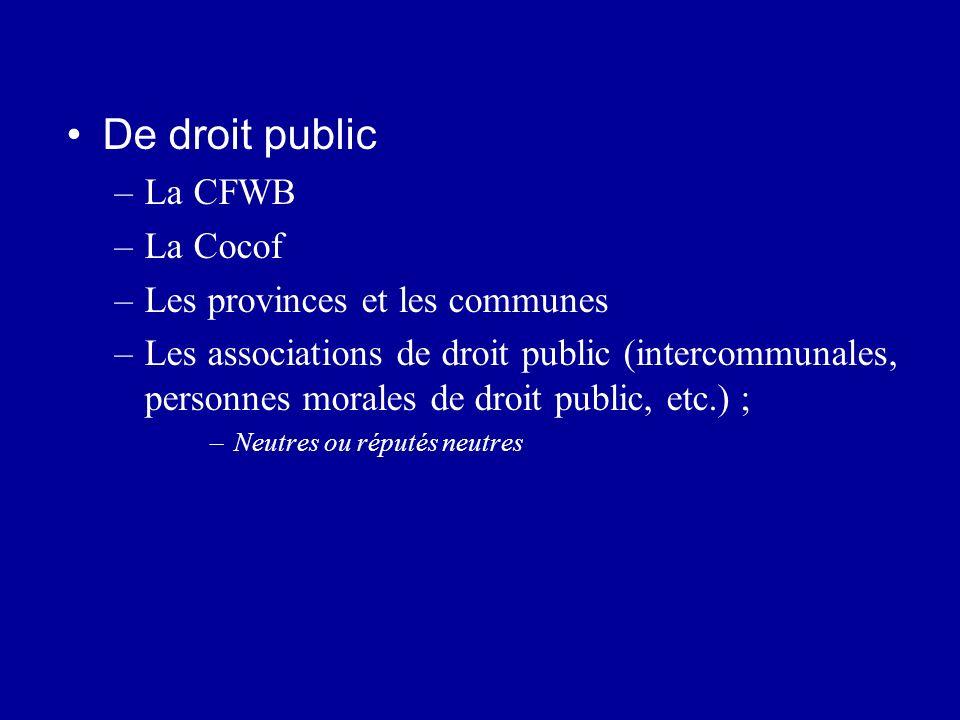 De droit public –La CFWB –La Cocof –Les provinces et les communes –Les associations de droit public (intercommunales, personnes morales de droit publi
