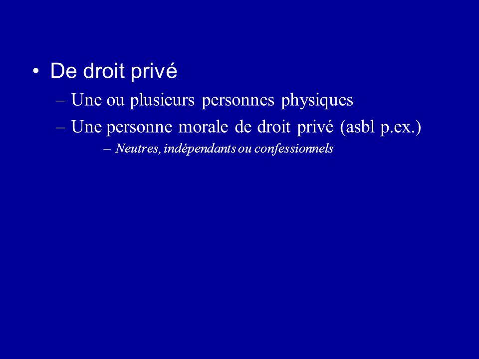 De droit privé –Une ou plusieurs personnes physiques –Une personne morale de droit privé (asbl p.ex.) –Neutres, indépendants ou confessionnels