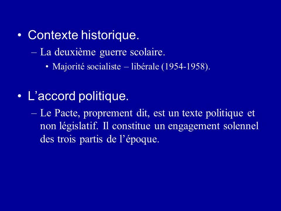 Contexte historique. –La deuxième guerre scolaire. Majorité socialiste – libérale (1954-1958). Laccord politique. –Le Pacte, proprement dit, est un te