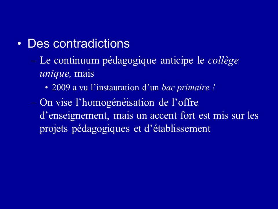 Des contradictions –Le continuum pédagogique anticipe le collège unique, mais 2009 a vu linstauration dun bac primaire ! –On vise lhomogénéisation de