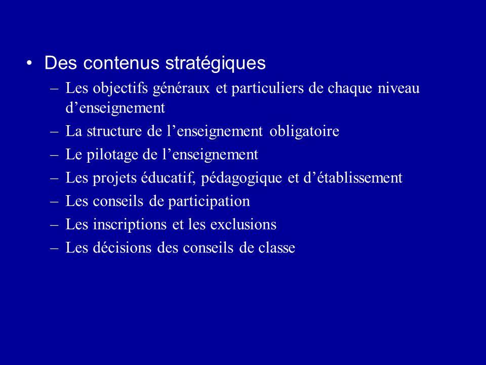 Des contenus stratégiques –Les objectifs généraux et particuliers de chaque niveau denseignement –La structure de lenseignement obligatoire –Le pilota