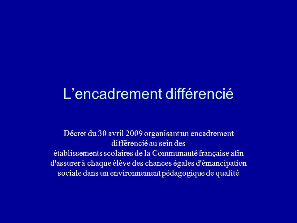 Lencadrement différencié Décret du 30 avril 2009 organisant un encadrement différencié au sein des établissements scolaires de la Communauté française