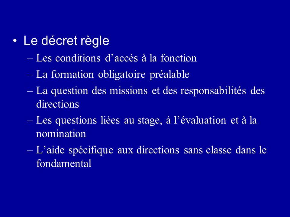 Le décret règle –Les conditions daccès à la fonction –La formation obligatoire préalable –La question des missions et des responsabilités des directio