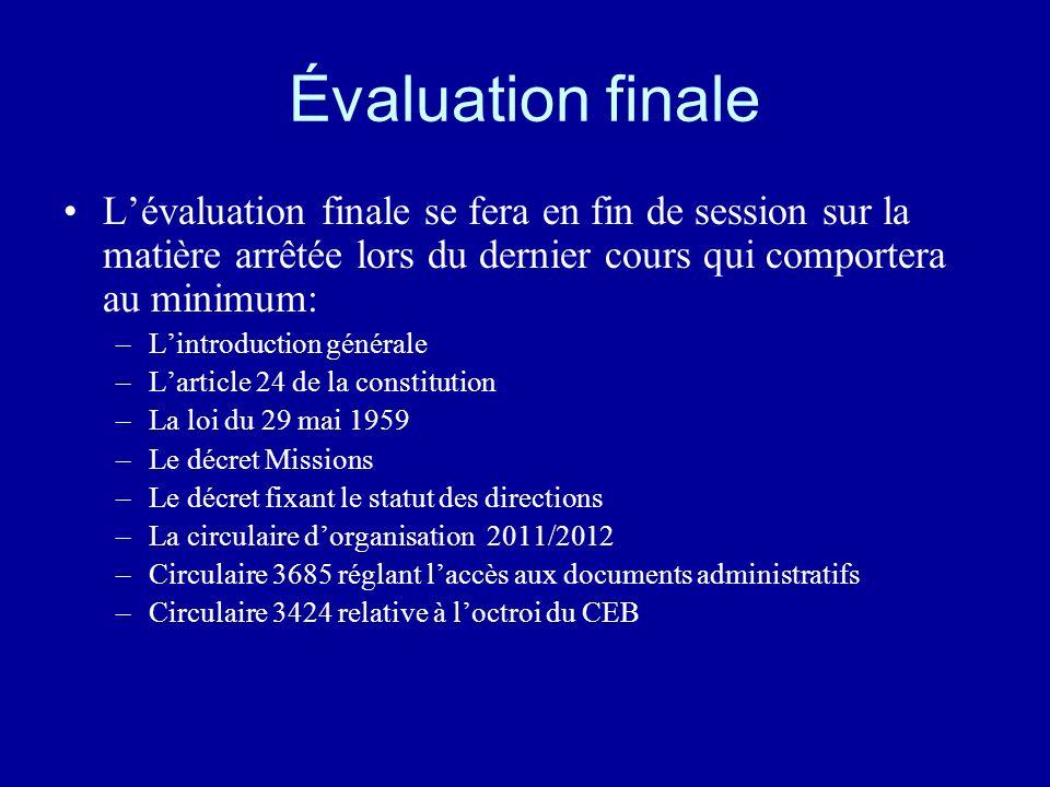 Évaluation finale Lévaluation finale se fera en fin de session sur la matière arrêtée lors du dernier cours qui comportera au minimum: –Lintroduction