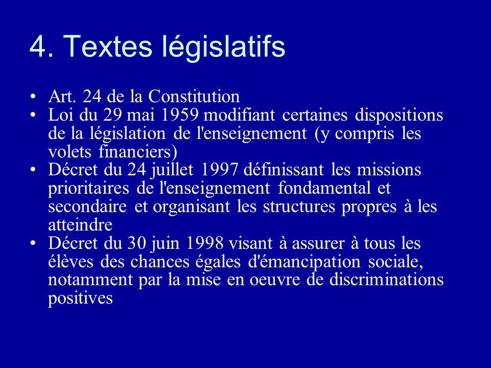4. Textes législatifs Art. 24 de la Constitution Loi du 29 mai 1959 modifiant certaines dispositions de la législation de l'enseignement (y compris le