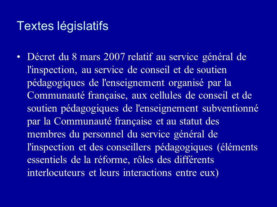 Textes législatifs Décret du 8 mars 2007 relatif au service général de l'inspection, au service de conseil et de soutien pédagogiques de l'enseignemen