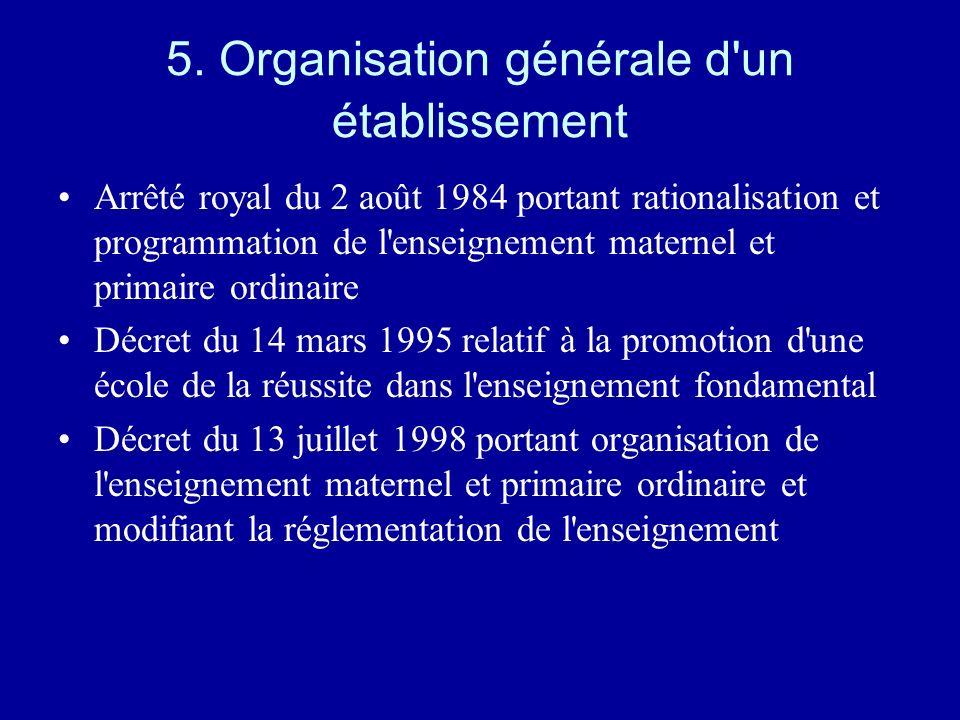 5. Organisation générale d'un établissement Arrêté royal du 2 août 1984 portant rationalisation et programmation de l'enseignement maternel et primair