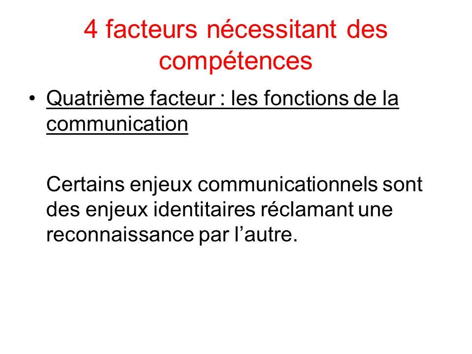 4 facteurs nécessitant des compétences Quatrième facteur : les fonctions de la communication Certains enjeux communicationnels sont des enjeux identitaires réclamant une reconnaissance par lautre.
