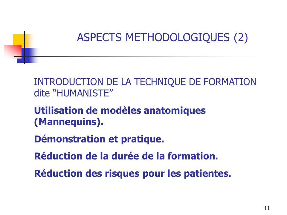 11 ASPECTS METHODOLOGIQUES (2) INTRODUCTION DE LA TECHNIQUE DE FORMATION dite HUMANISTE Utilisation de modèles anatomiques (Mannequins). Démonstration