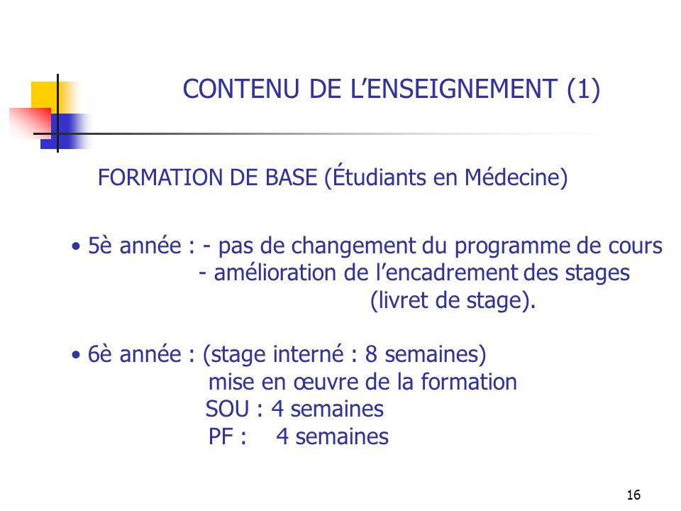 16 CONTENU DE LENSEIGNEMENT (1) FORMATION DE BASE (Étudiants en Médecine) 5è année : - pas de changement du programme de cours - amélioration de lenca
