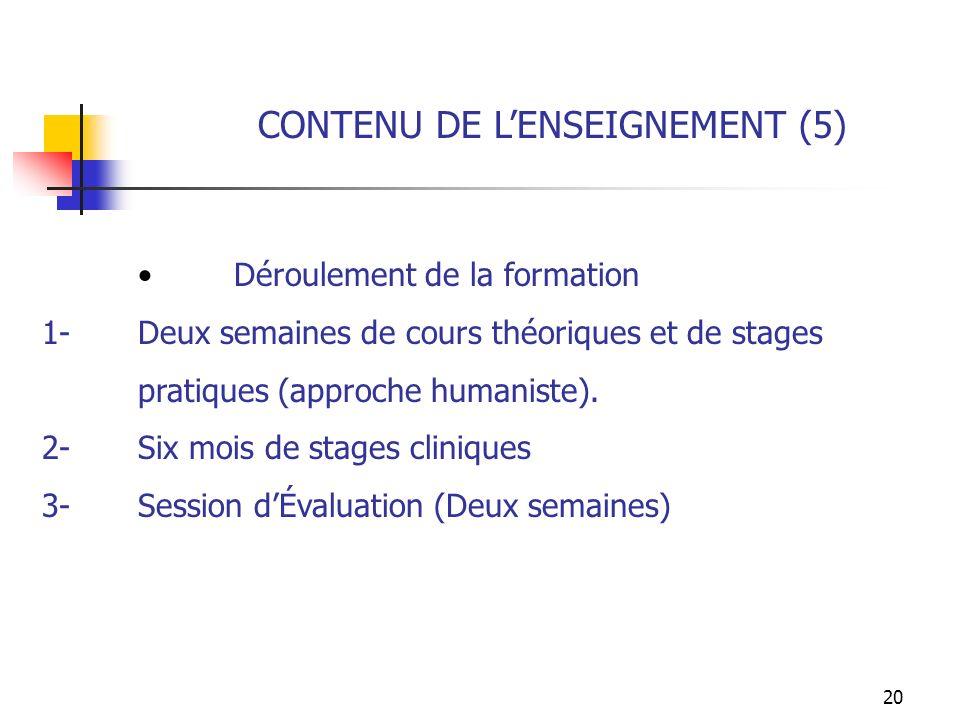 20 CONTENU DE LENSEIGNEMENT (5) Déroulement de la formation 1-Deux semaines de cours théoriques et de stages pratiques (approche humaniste). 2-Six moi