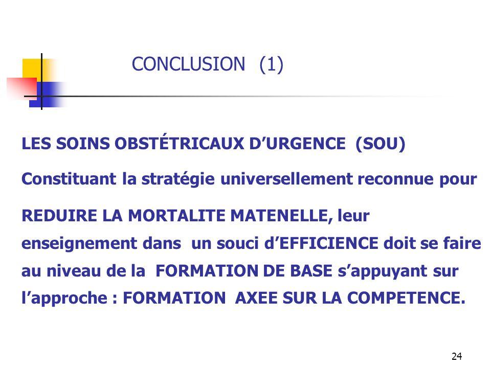 24 CONCLUSION (1) LES SOINS OBSTÉTRICAUX DURGENCE (SOU) Constituant la stratégie universellement reconnue pour REDUIRE LA MORTALITE MATENELLE, leur en