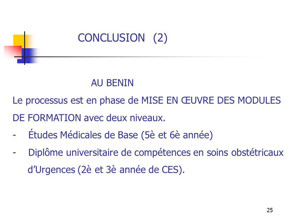 25 CONCLUSION (2) AU BENIN Le processus est en phase de MISE EN ŒUVRE DES MODULES DE FORMATION avec deux niveaux. - Études Médicales de Base (5è et 6è