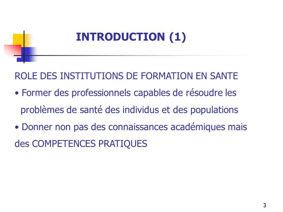 3 INTRODUCTION (1) ROLE DES INSTITUTIONS DE FORMATION EN SANTE Former des professionnels capables de résoudre les problèmes de santé des individus et
