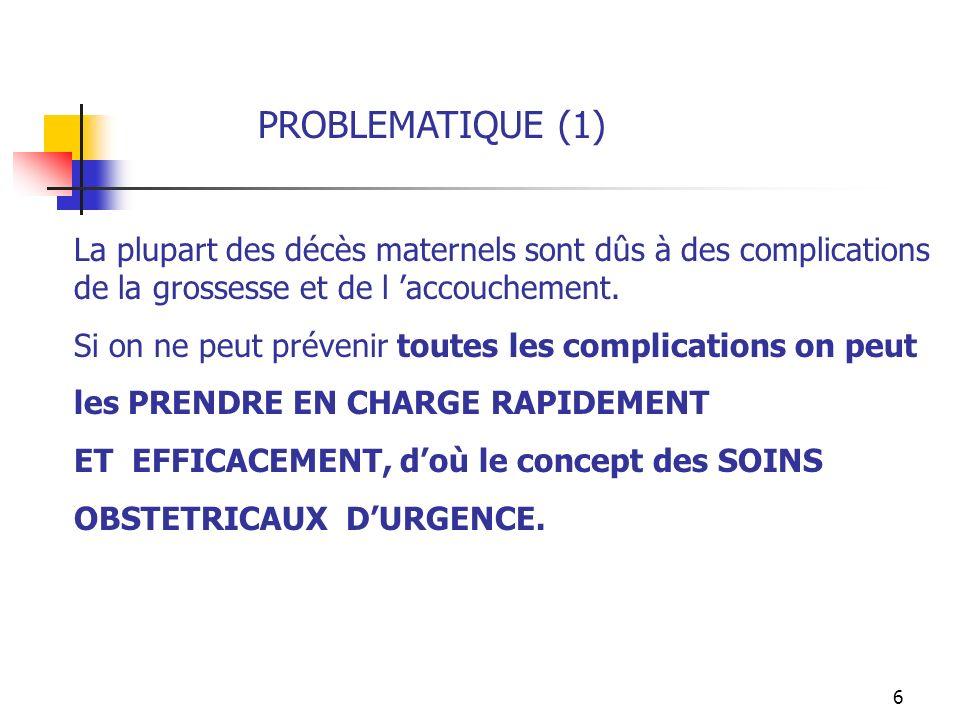 7 PROBLEMATIQUE (2) 6 Interventions constituent les SOINS OBSTÉTRICAUX DURGENCE DE BASE (SOUB) 1-Administration docytociques 2-Administration parentérale dAntibiotiques 3-Administration dAnticonvulsivants 4-Délivrance Artificielle et Révision Utérine 5-Évacuation des restes davortement (AMIU) 6-Accouchement par Ventouse ou Forceps