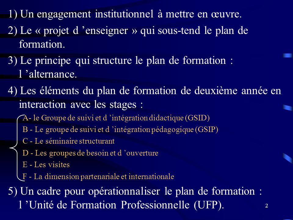 2 1) Un engagement institutionnel à mettre en œuvre.