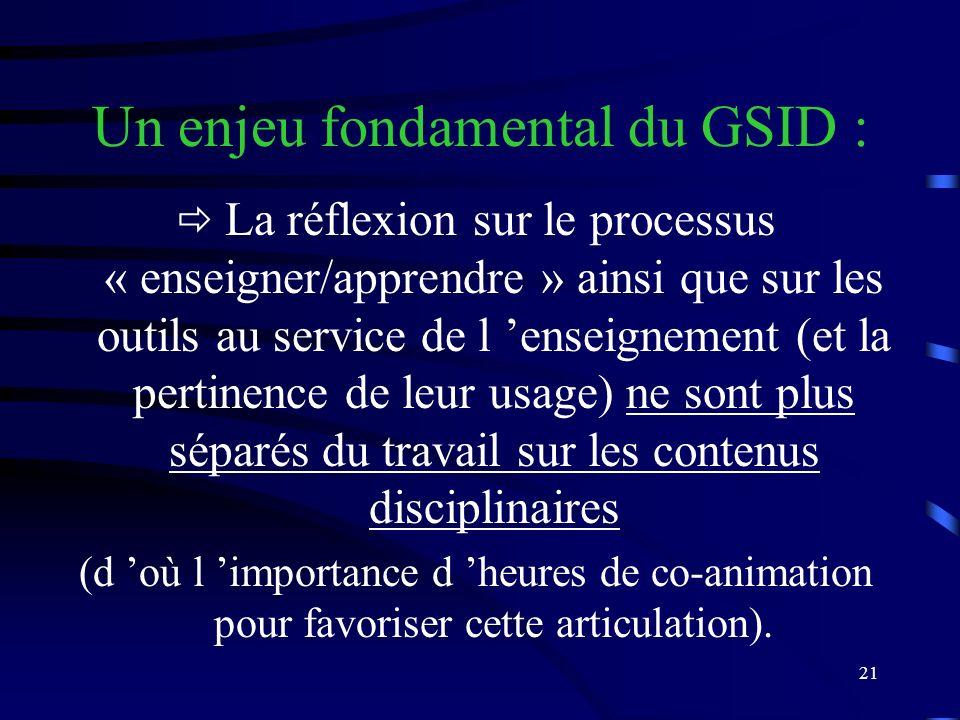 21 Un enjeu fondamental du GSID : La réflexion sur le processus « enseigner/apprendre » ainsi que sur les outils au service de l enseignement (et la pertinence de leur usage) ne sont plus séparés du travail sur les contenus disciplinaires (d où l importance d heures de co-animation pour favoriser cette articulation).